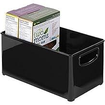 mDesign Caja organizadora para alimentos – Práctica caja de almacenaje, ideal para cocina, despensa o como cajón para nevera – Accesorios de cocina – Plástico color negro