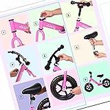Coorun Verstellbar Kinder Laufrad 12 Zoll & 14 Zoll Lernlaufrad aus Stahl Kettler Laufrad mit Robust Reifen ab 2 Jahre Rosa Blau