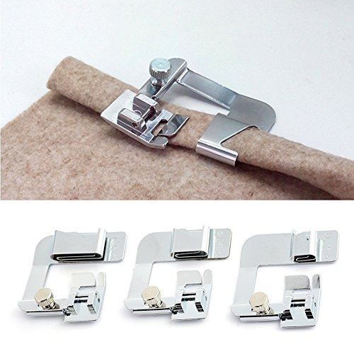 3pcs de múltiples funciones del hogar Prensatelas para envoltura y dobladillo Guía de puntadas rectas Prensatelas