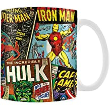 "Marvel MG23444 8 x 11,5 x 9,5 cm ""retro cubiertas"" taza de cerámica, Multi-color"