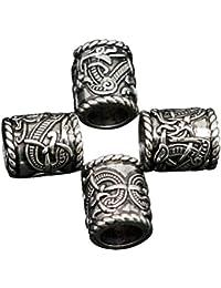 Mcree - Abalorios para pulsera, collar, colgante, runas vikingas, runas nórdicas, 4 unidades