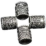 Mcree Lot de 4perles/breloques Style antique Motif runes viking Apprêt pour...