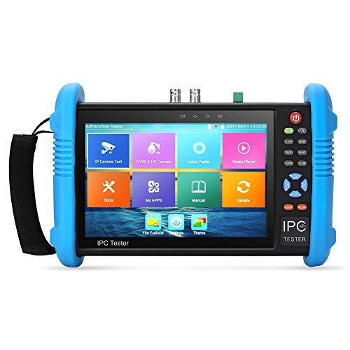 Koolertron Actualizado 7 Pulgadas Pantalla Táctil IPS H.265 4K Probador de Cámara IP CVBS Probador Analógico con Tarjeta de POE / WIFI / 8G TF/4K H.265/Salida HDMI/RJ45 TDR/Prueba de Dual Window/ Firmware IPC-9800 Plus