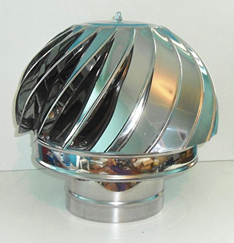 Kamin Spinner Rotorvent Stahl Spinning Wind drehbarer Kappe Passform 100 bis 350 mm (150 mm)