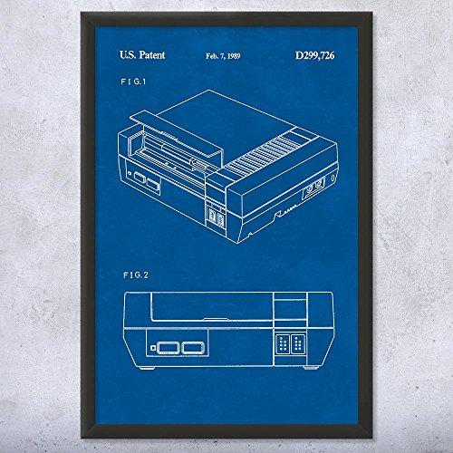 Patent Earth Druck auf Nintendo NES Videospiel-System, Motiv, gerahmt, klassischer Nintendo/Spielkonsole, Retro-Gaming, Geschenk 16