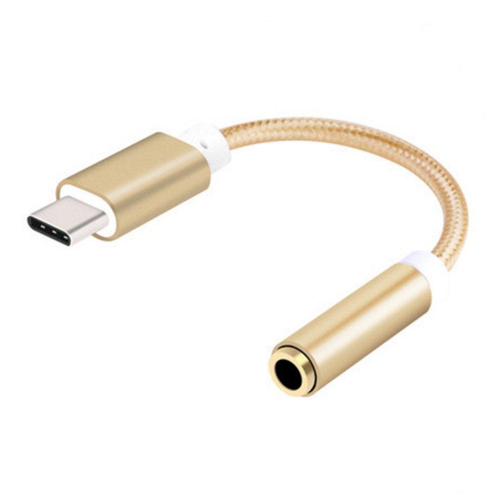 Distinct® Treccia Type C USB a 3,5 mm altoparlante audio femmina adattatore cavo auricolare - Oro