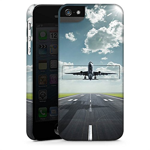 Apple iPhone 5s Housse Étui Protection Coque Avion Décollage mouches CasStandup blanc