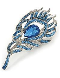 Exótico azul cristal de pluma de pavo real 'broche en rodio chapado–8cm L