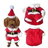 SYMTOP Disfraz Navideño de Papá Noel para Perro Pequeño con Gorro de Navidad para Mascotas Accesorios Fiesta de Navidad Party Foto de Vacaciones de Invierno - M