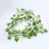 ANYIKE 1Künstlicher Efeu Girlande Foliage Green Leaves Fake Aufhängen Vine Pflanze für Hochzeit Party Garten Wand Dekoration