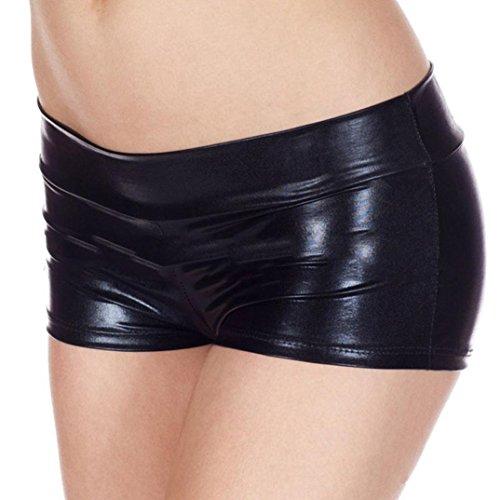 Booties Mode (Unterwäsche Dessous lingerie Damen,Yanhoo Heiße Mode Frauen Pearl G-String und Metallische Rave Booty Dance Shorts nachgemachte Licht Frauen kurze Unterwäsche (Schwarz, Freie Größe))