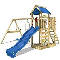 WICKEY Climbing Frame MultiFlyer Climbing Tower, Swing Set, Sandpit and Climbing Wall, Blue Slide + Blue tarp