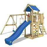 WICKEY Spielturm MultiFlyer - Klettergerüst mit Schaukel, Strickleiter, Kletterwand und -leiter,...