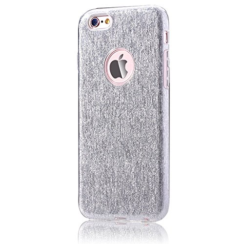 TPU Coque pour iPhone 6/6S, Sunroyal® Bling Crystal Case Etui Soft Silicone Gel Ultra Mince Prime Flex Skin Protection Back Cover - Argent TPU-Argent