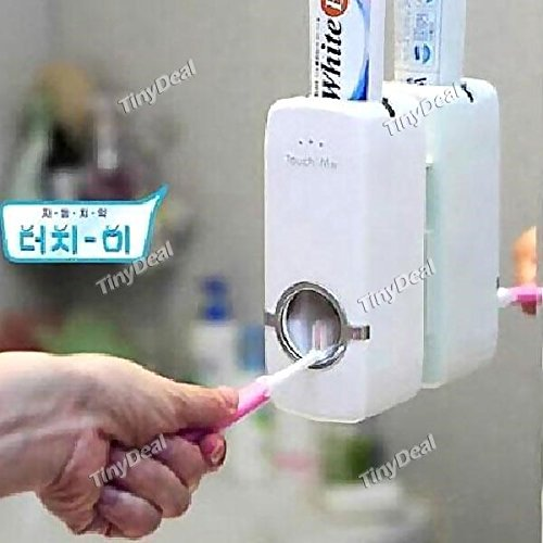 Tiny-Deal-Touch-Me-Automatic-Vacuum-Toothpaste-Dispenser-Squeezer-with-A-5-pc-Toothbrush-Holder