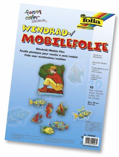 Preisvergleich Produktbild folia 440230 - Mobilefolie,  Windradfolie,  PVC,  transparent,  0, 4 mm,  23 x 33 cm,  10 Bogen - zum Basteln von Mobiles oder Windrädern