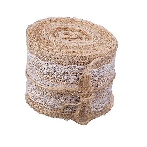 Feste Trim (Runfon 5M Natural Jute Burlap Hessian Ribbon with Lace Trims Tape Rustic Wedding Decor by 100% Neu)