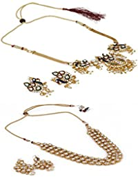 Aradhya Designer COMBO Traditional Peacock Style Gold Plated Choker And Kundan Necklace With Earrings For Women