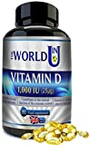 Vitamin D3 1000IU 365 Softgels (Annual Supply) for Maintaining Normal Bones and Teeth, Muscle Function and Immune System. Made in the UK. Non-GMO. Gluten and Dairy Free. 100% Money Back Guarantee by Blissful Rose Limited