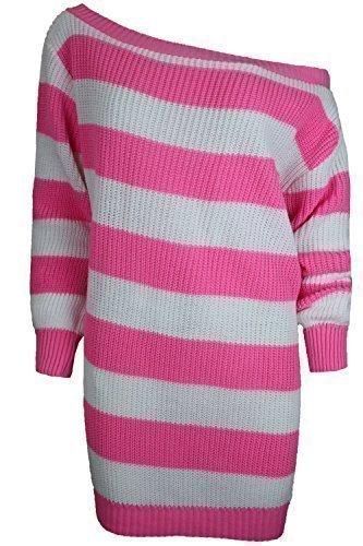 Be Jealous Damen Kleid Weiter Ausschnitt Kleid - Erdbeer Rosa / Weiss