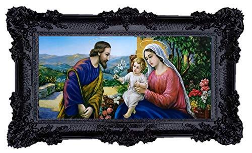 Geburt M3 Mutter Maria Jungfrau Madonna Mutter Gottes heilige Maria Ikonen Bild Repro Barock Antik Look gerahmtes Gemälde mit Ornamentverziehrungen in den Rahmen montiert Repro 96x57cm (Schwarz)