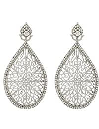 The Luxor Australian Diamond Studded Silver Plated Drops & Danglers Earrings For Women(ER-1499)
