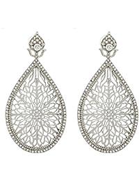 The Luxor Australian Diamond Studded Silver Plated Drops & Danglers Earrings For Women(ER-1499)