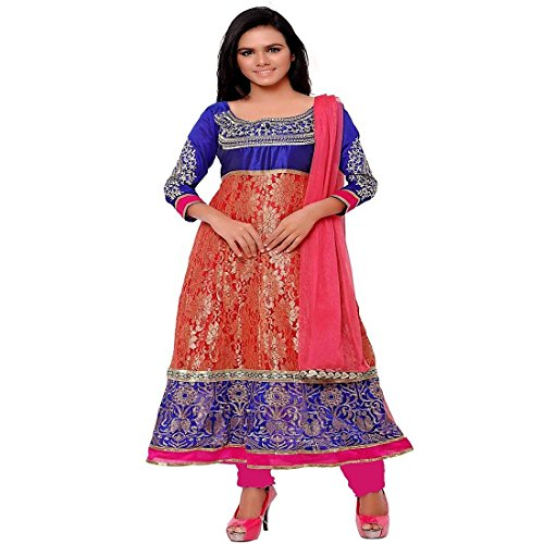 net embroidery latest offer designer salwar suit anarkali women girl design party wear casual wear unstitched top bottom dupatta dress materials  available at amazon for Rs.399