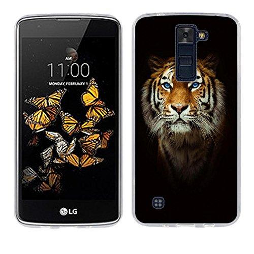 Funda LG K8, Fubaoda [testa di tigre] Carcasa Claro Panel Posterior de Bordes Amortiguadores de TPU Blando Funda Carcasa para LG K8