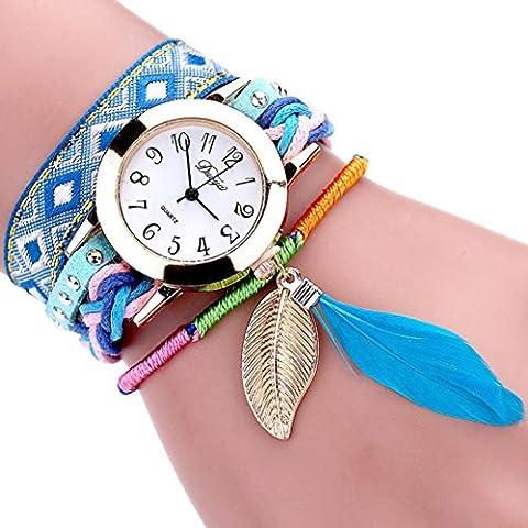 Minshao Bohème Hnadmade Knit Multi couches simili cuir Floral Band Plaqué or plumes Pendnt à quartz Bracelet montre-bracelet pour coffret cadeau pour femme bleu