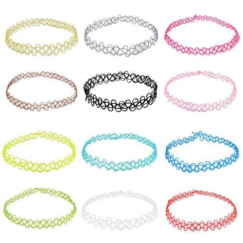Jane Stone Damen Halsketten Chokers Kropfbänder 12er Set Henna Tattoo Multi Farben bunt elastisch enge anliegende Jocker Ketten für junge Frau und Mädel (Multi Farbige Kostüme Schmuck)