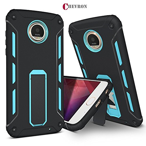 Chevron Motorola Moto Z2 Play Back Cover Case, ChevPassion™ Hybrid Armor Design Kick Stand-up Feature Dual Layer Protective Shell Hard Back Cover Case Motorola Moto Z2 Play -Urban Blue