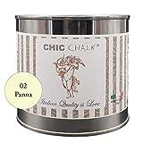 Chic Chalk - 500 ml PANNA - Pittura gessosa super opaca. Aderisce su tutte le superfici senza primer o carteggio. Ideale per ottenere mobili in stile Shabby.