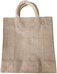 Pooja Bags Jute Plain Shopping Bag Set Of 2 PCs (Golden, Size: 12*13*6 Inches)