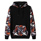 Missoul Autumn Winter Fashion Printing Hoodie Sport Sweatshirt Tops for Men Long Sleeves Trend Simple (Orange)