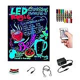 Pizarra LED luminosa 60x80cm, RGB, acrílica + PACK 8 ROTULADORES, ENTREGA 1-3 DÍAS