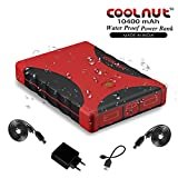 COOLNUT 10400mAh WaterProof Power Bank Portable Battery Charger, Complete Kit (Red)