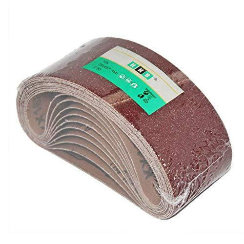 10 Stück HKB ® Gewebe-Schleifbänder, 75x457mm, K 60 für Bandschleifgeräte, hochwertige Profi-Qualität für verschiedene Oberflächen, Hersteller HKB, Artikel-Nr. 950726