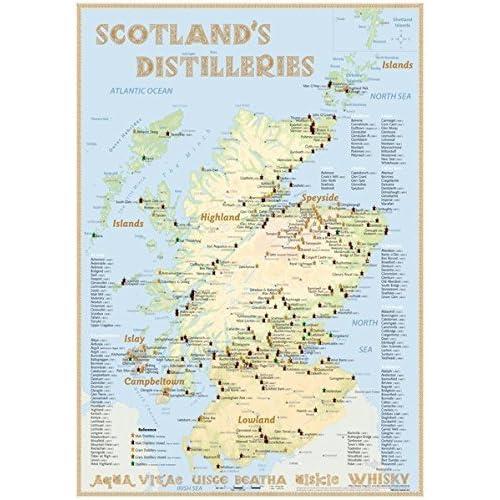 Whisky Distilleries Scotland - Poster 42x60cm - Standard Edition: The Whiskylandscape in Overview - Maßstab 1:1.000.000 by Rüdiger Jörg Hirst (2016-01-01)