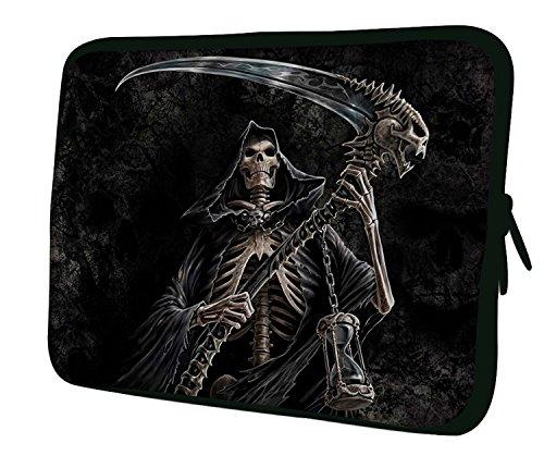 Luxburg® 17,3 Zoll Notebooktasche Laptoptasche Tasche aus Neopren Schutzhülle Sleeve für Laptop/Notebook Computer - Gevatter Tod