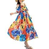 Years Calm Floral Chiffon V-neck Sleeveless Condole belt skirt Long Dress Summer Beach Maxi Dress (One Size, Multicoloured)