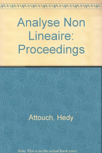 Analyse non linéaire : [actes du congrès franco-québecois 22-26 juin 1987, Perpignan], contributions en l'honneur de J.-J. Moreau par H Attouch