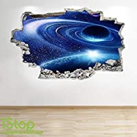 SPACE WALL STICKER 3D LOOK - MOON PLANET GALAXY STARS BOYS BEDROOM Z249