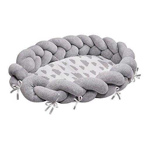 LULANDO Multifunktionales Babybett im Zopfdesign, Babynest Kuschelnest Babynestchen (90 x 60 x 17 cm), Weiches und sicheres Baby-Reisebett Babybett Nestchen für Neugeborene