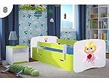 Kocot Kids Kinderbett Jugendbett 70x140 80x160 80x180 Grün mit Rausfallschutz Matratze Schublade und Lattenrost Kinderbetten für Mädchen und Junge - Schmetterling 180 cm