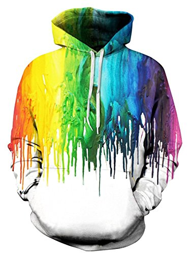 Idgreatim Juniors Kapuzen Hoodie 3D Graffiti Printed Drawstring Taschen Hoodie Plus Samt - Colorful 2, M
