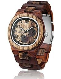 1257dc7073ae Reloj de madera ZEITHOLZ – TANNENBERG - 100% de Madera de Sándalo y Zebrano  - Producto Natural - Hipoalergénico - Sostenible –…