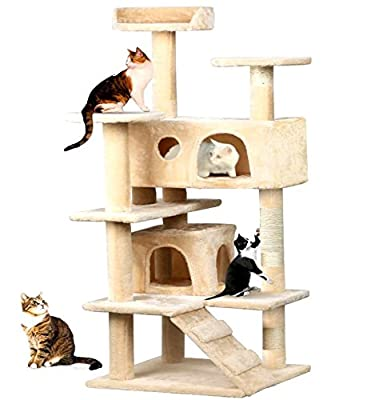 Petzone Beige Cat Kitten Tree Scratching Post Activity Centre Bed Toy Model18