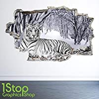 WHITE TIGER WALL STICKER 3D LOOK - BEDROOM LOUNGE NATURE ANIMAL WALL DECAL Z26