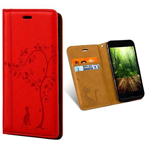 Für iPhone 6 / 6s, Rot Flip Case von QULT® | ROZ037 Katze unter Baum Schutzhülle Ständer Hülle mit Kartenfach und Magnetschloss Design Wallet Buch-Stil